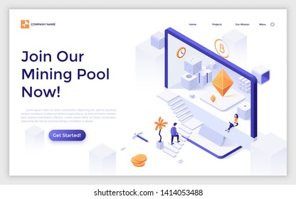 Landing page with man ascending stairs and entering screen of giant computer. Cryptocurrency mining pool or blockchain network. Modern isometric vector illustration for digital service promotion.