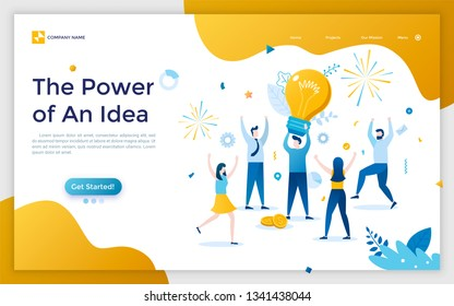 Landing page with man holding giant light bulb, group of rejoicing people and fireworks. Concept of power of innovative business idea or insight. Flat vector illustration for website, web banner.