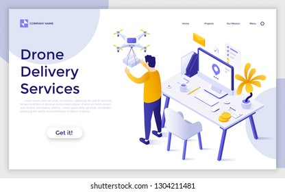 Landing page with man receiving package delivered by quadcopter. Concept of drone delivery service, innovative technology in parcel shipment and logistics. Creative isometric vector illustration.