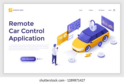 Landing page with man standing in front of electric automobile and unlocking it and place for text. Application for remote car control, modern technology. Isometric vector illustration for website.