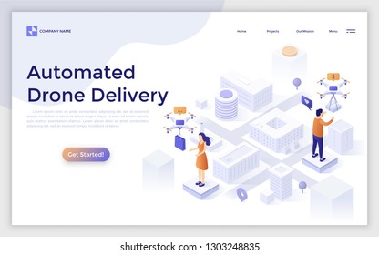 Landing page with man and woman standing on city map and receiving packages delivered by quadcopters. Automated drone delivery, shipment of internet order. Creative isometric vector illustration.
