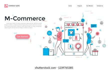 Landing page with man and woman walking and buying products through mobile application on their smartphones and place for text. Modern linear vector illustration for m-commerce app advertisement.