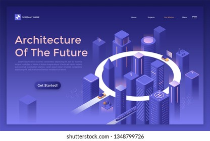 Landing page with megalopolis at night, glowing futuristic buildings and skyscrapers, cars riding on round road. Architecture of the future, modern city planning. Isometric vector illustration.