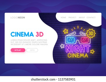 Landing Page. Mock up website. Home Page. Web banner templates. Social media, business app, seo and marketing. Theme Cinema 3D. Night Cinema. Neon sign style. Vector illustration