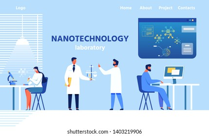 Landing Page for Modern Nanotechnology Laboratory. Researchers, Doctors and Scientists Team Working at Equipped Lab. People Discussing Results of Experiment, Testing, Typing Flat Vector Illustration