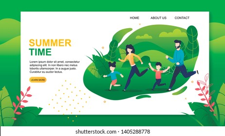 Landing Page Offering Happy Summer Time with Family. Cartoon Parents and Diverse Children Jogging Together in Green Park. Active and Healthy Recreation. Vector Motivational Flat Illustration