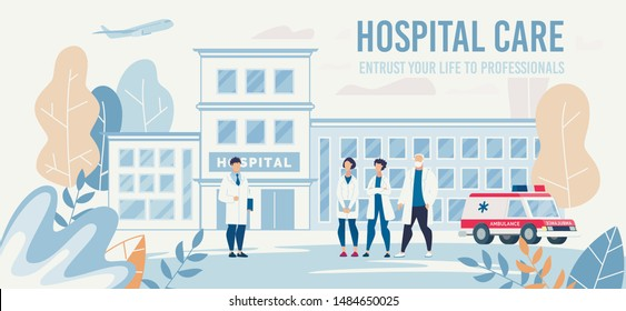 Landing Page Offering Professional Medical Help. Clinic Staff and Chief Physician Cartoon People Characters. Flat Hospital Building and Ambulance Car in Yard. Vector Illustration. Floral Eco Design