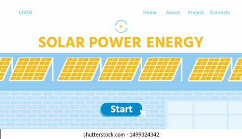 Landing Page Offering Roof Solar Mount Panels for Alternative Power Production. Renewable Energy from Sun. New Equipment for Electricity Generating. Online Workshop. Vector Flat Cartoon Illustration