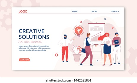 Landing Page Offers Creative Solution for Business. Cartoon People Characters Working and Communicating in Friendly Open Space Workplace. Coworking, Optimisation and Development. Vector Illustration