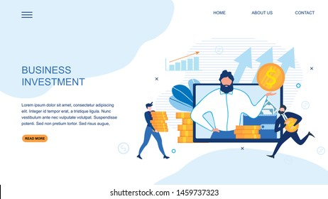 Landing Page Offers Profitable Business Investment. Strategy Aimed at Saving . Vector Money and People Illustration. Flat Male Advisor on Screen, Office Worker and Freelancer with Gold Coins Piles