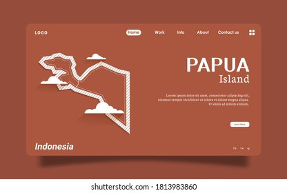 Landing Page - Papua island vector map , High detailed illustration. papua island, part of Indonesia, country in Asia.