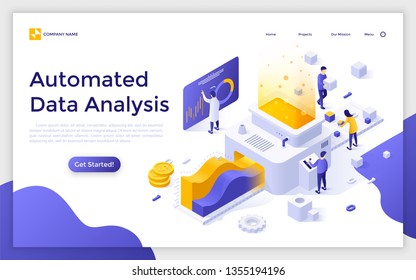 Landing page with people or analysts working on conveyor and place for text. Automated data analysis, financial forecast, market research. Modern isometric vector illustration for website, webpage.