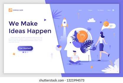 Landing page with people, managers or clerks working on laptop and cultivating light bulb growing in giant head. Idea creation, creative management, brainstorming. Modern flat vector illustration.