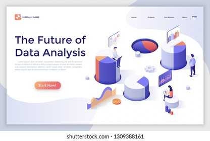 Landing page with people sitting on giant diagrams or charts and analyzing statistical information. Future of big data analysis, financial forecasting. Isometric vector illustration for website.