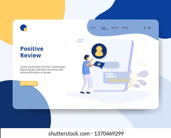 Landing Page Positive Review concept, A man is giving a review on the board. It can be used for web landing pages, mobile apps, banners, flayer, social media promotions. vector-illustration