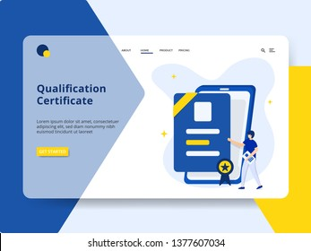 Landing page Qualification Certificate Concept, a man is standing next to a smart phone. can be used for onboarding mobile apps, web landing pages, banners, posters. vector-illustration