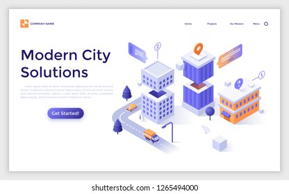 Landing page with residential building, streets, location marks and place for text. Modern city solutions, urban housing and infrastructure. Isometric vector illustration for online service website.