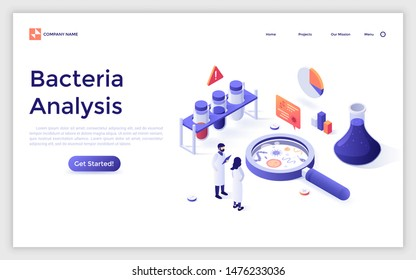 Landing page with scientists and lab equipment. Microbiology service for bacteria analysis, bacteriological research laboratory. Isometric infographic design template. Vector illustration for website.