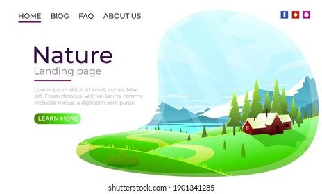 Landing page screen, nature landscape template cover. website background. Vector illustration