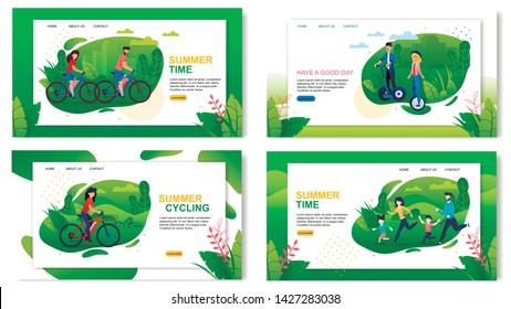 Landing Page Set Advertising Healthy and Active Summer Vacation. Happy Summertime Together. Family, Man and Woman Couple Spending Time Using Eco Transport. Vector Cartoon Flat Illustration