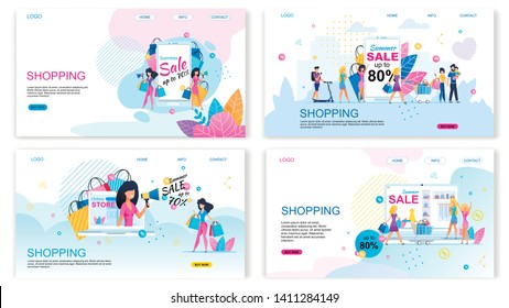 Landing Page Set Offering Buy with Different Discounts. Summer Sales. Shopping Vacation. Happy Cartoon People with Purchase. Online Shop Advertising Flat Banner Pack. Vector Illustration