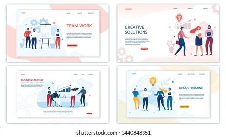 Landing Page Set for Optimization and Development. Mobile Apps and Business Solutions. Male and Female People Characters Working in SEO Team. Edit and Customize Banner Kit. Vector Flat Illustration