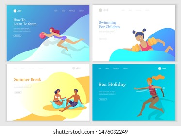 landing page set with People family and children in sea, pool or ocean performing activities. Men or women swimming in swimwear, diving, surfing, lying on floating air mattress, playing ball.