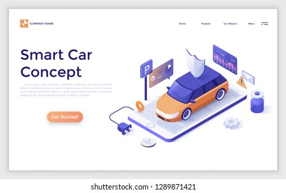 Landing page with smart car on giant smartphone and place for text. Electric automobile with remote control, innovative technology. Isometric vector illustration for website or web advertisement.