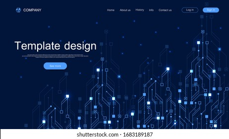 Landing page tech background with abstract circuit board textures. Geometric abstract background with lines circuit board . Website template design. Vector illustration