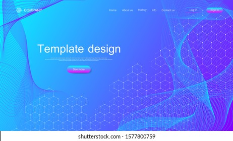 Landing page tech background with colorful dynamic waves and hexagonal boxes. Geometric abstract background with lines and dots, cube cell. Website template design. Vector illustration