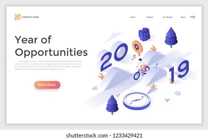 Landing page template with 2019 number and man riding bicycle. Year of opportunities concept. Isometric vector illustration for healthy lifestyle advertisement or website