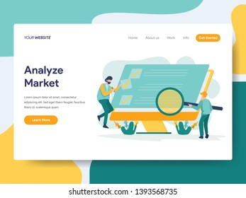 Landing page template of Analyze Market Illustration Concept. Modern flat design concept of web page design for website and mobile website.Vector illustration