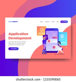 Landing page template of Application Development services. Modern flat design concept of web page design for website and mobile website.Vector illustration