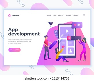 Landing page template application development concept with office people. Modern flat design web page design for website and mobile website. Vector illustration