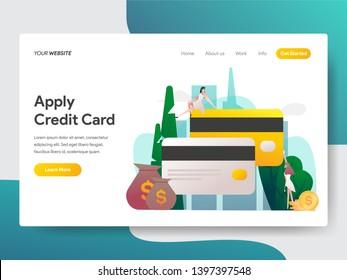 Landing page template of Apply Credit Card Illustration Concept. Modern flat design concept of web page design for website and mobile website.Vector illustration