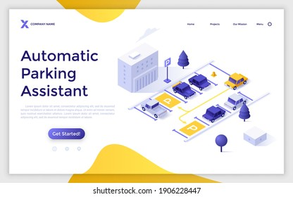 Landing page template with automobiles parked on street. Concept of automatic parking assistant technology, cars with proximity sensors. Modern colorful isometric vector illustration for website.