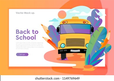 Landing page template of Back to school. Modern flat design concept of web page design for website and mobile website. Easy to edit and customize. Vector illustration.