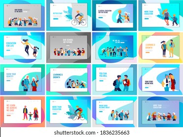Landing page template with Back to school flat vector illustration. Preteen and teenage schoolkids. Parents with kids, schoolmates, friends cartoon characters. Schoolboys and schoolgirls