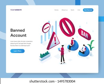 Landing page template of Banned Account Isometric Illustration Concept. Modern design concept of web page design for website and mobile website.Vector illustration EPS 10