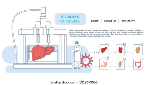 Landing page template. Bioprinting concept, 3D printing of the liver, stomach, lungs, kidneys and heart. scientists with 3D printer. Colorful vector illustration in flat outline cartoon style.