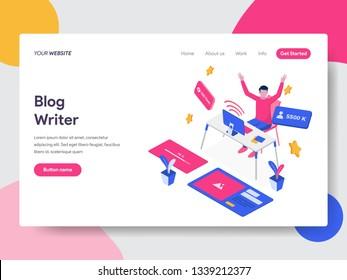 Landing page template of Blog Writer Illustration Concept. Isometric flat design concept of web page design for website and mobile website.Vector illustration