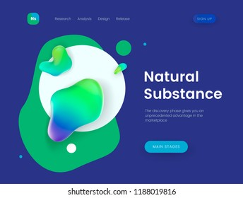 Landing page template with blue abstract liquid shapes - Natural Substance, can be used for presentation, cover, business communication and branding theme web sites. Header for website. Vector