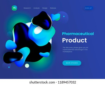 Landing page template with a blue background color, can be used for pharmacies, clinics, medical and cosmetic web sites. Header for website. Vector illustration