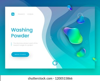 Landing page template with a blue fresh background - Washing Powder, can be used for detergent, soap, shampoo and laundry theme web sites. Header for website. Vector illustration