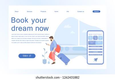 Landing page template of Book your flight. Modern flat design concept of web page design for website and mobile website. Vector illustration in flat design.