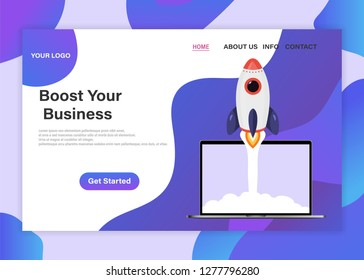 Landing page template of Boost your business. Startup your project for website and, landing pages, templates, UI, web, mobile applications, posters, banners. Launching new product or service.
