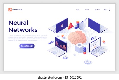Landing page template with brain surrounded by laptop computers. Concept of artificial neural network or connectionist system, machine learning, information technology. Isometric vector illustration.