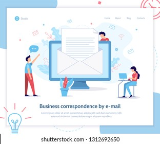 Landing page template. Business correspondence by email. Business concept. Flat vector illustration.