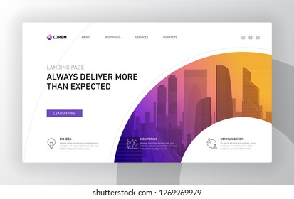 Landing page template for business. Modern web page design concept layout for website. Vector illustration.