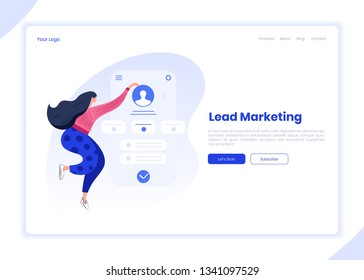 Landing page template, business woman analysis customer profile account in a mobile application, lead management concept, marketing, advertisement targeting settings, user data analysis. Modern header